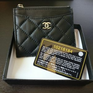 Black Leather Quilted Card Case Coin Wallet Zipper